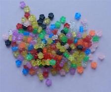 200 Plastic Flower Disc Transparent Mix 3x5mm Assorted Pastel Color