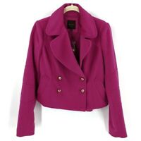 The Limited Wool Blend Short Pea Coat Size XS Womens Pink Fuchsia Double Breast