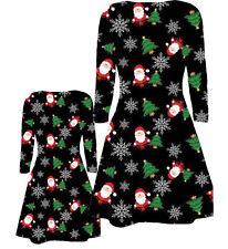 BABIES TODDLER GIRLS MOTHER DAUGHTER CHRISTMAS SANTA TREE SNOW FLAKES XMAS DRESS