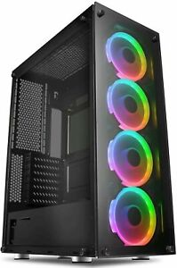 Game Max Predator RGB Full Tower ATX Gaming PC Case Tempered Glass LED Fans EATX
