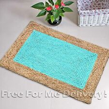 CECILE BRAIDED NATURAL JUTE AQUA BLUE FLOOR RUG MAT (XXS) 70x140cm *FREE DELIVER