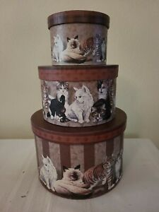 "KITTY CITY Cat Motif Round Decorative Nesting Boxes w/Trays 9"" x 6"""