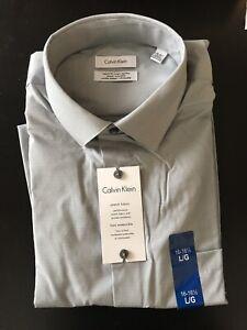 New Calvin Klein Men's 16 -16 1/2 Grey Multi Polka Dot Regular Fit Dress Shirt