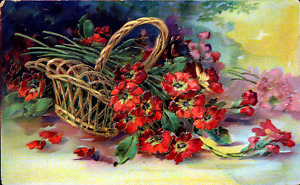 Greetings~RED PURPLE POPPIES FALL FROM BASKET~GOLD~Antique GEL Postcard~Germany
