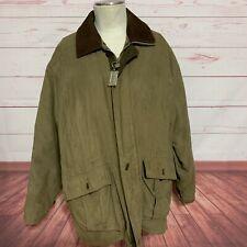 Rainforest Barn Coat Jacket Mens Leather  Removable Collar Brown Microfiber XL