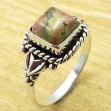! Silver Plated Metal Jewelry New Beautiful Unakite Urban Style Ring Size 8.5