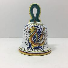 """Italian Hand-Painted Ceramic Table Bell, Traditional Deruta Motifs (4"""")"""