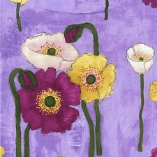 By 1/2 Yard  Michael Miller Cotton Fabric - Vignette Gathered Poppies in Orchid