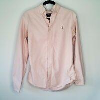 Ralph Lauren Custom Fit Blue Label Button Down Pink Pinstripe Career Blouse SZ S