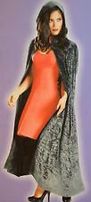 Womens Totally Ghoul Silver Velvet Cape Hooded Robe Halloween Accessory OSFM