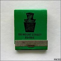 Top of the Town Hotel Motel 195 Mount St Burnie Ph 314444 Green Matchbook (MK90)