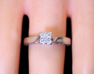 Estate 10K White Gold KEEPSAKE .17 Ct RB Diamond Ladies Wedding? Ring Size 6.75