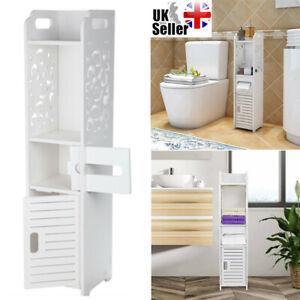 3 Tier Modern Bathroom Furniture Cabinet Wood Slim Shelf Cupboard Storage Unit