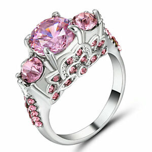 Size 8 Women's Pink Sapphire 3 Stone Sunflower Ring 10KT White Gold Filled gift