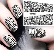 Nail Art Stickers Water Decals Transfers Cercle and Square Gel Polish