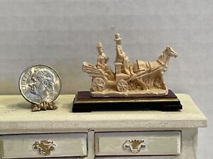 Vintage Artisan Horse & Buggy Statue Figurine Dollhouse Miniature 1:12