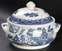 Churchill WILLOW-BLUE (GEORGIAN SHAPE) Round Covered Vegetable Bowl 50147