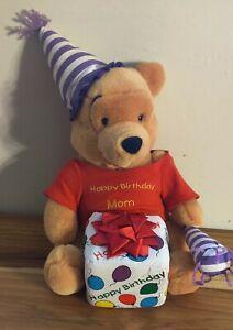 "Disney Winnie the Pooh Bear Happy Birthday Mom Present 15"" Plush Stuffed Animal"