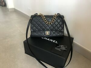CHANEL 2017 Black Quilted Flap Bag with Chain Handle and Long Strap
