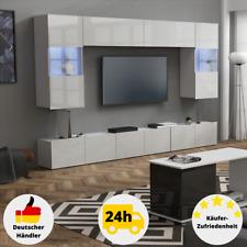 Wohnzimmerwand Hochglanz Weiß Wohnzimmerschrank Schrankwand LED Hängeschrank Set