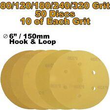 "Mirka Plain Boxed 150mm 6"" Mixed Grit 50x HookNLoop DA Sanding Abrasive Discs"