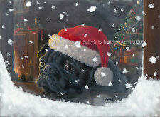 Pug Dog, Christmas cards pack of 10 by Paul Doyle. C493X