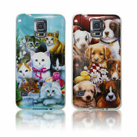 SILICONE DOG CAT PUPPY KITTY ANIMAL FLOWER RUBBER CASE COVER FOR VARIOUS PHONES
