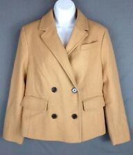New  Lands End Canvas Womens Double-Breasted Camel Short Wool Coat 6 Reg.$200