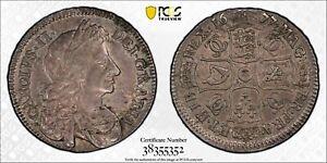 GB008 Rare 1677 Great Britain 1/2 Crown PCGS AU50