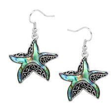 Starfish Fashionable Earrings - Vine Filigree - Fish Hook - Abalone Paua Shell