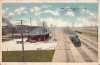 Postcard Lake Shore Railroad Train Station in Indiana Harbor, Indiana~126617