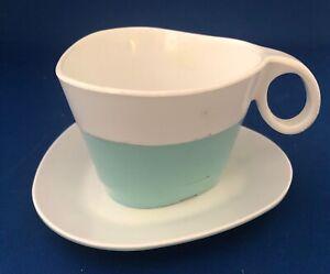TWA Airlines Aqua Plastic Cup & Saucer - 1960's