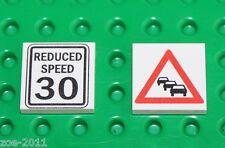 Lego 2x White Tile 2x2 Custom Printed Road Sign NEW!!! 3