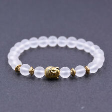 Handmade Buddha Bracelet Natural Crystal Onxy Beads Bracelets OM Hinduism Jewely