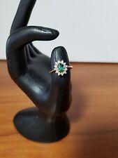 14k Yellow Gold Emerald Diamond Princess Diana Style Ring, Size 6.5