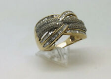 9ct Yellow Gold Multi stone 100 point diamond cluster ring size P 6.36 grams