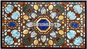Marble Dining Table Top Marquetry Accent Inlay Stone Living Room Decor H3885