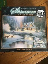"""Thomas Kinkade Ceaco 750 Piece Shimmer Jigsaw Puzzle """"Deer Creek Cottage"""""""