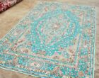"""6'7""""x10' FRENCH TAPESTRY WOVEN STYLE RUG HERIKEH TABRIZI NEW TURQUOISE COLOR"""