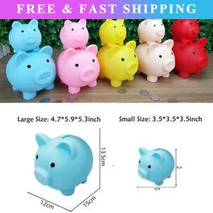 Piggy Bank Saving Coins Money Box Cash Fund Gift Plastic Pig Kids Toy S/L