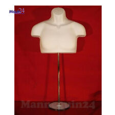 New! Male Torso Mannequin Form - White w/ Metal Base