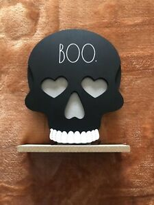Rae Dunn Skull BOO Lights Up Halloween Black New!!! 2 Available