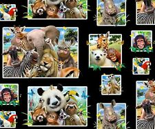 Funny Animal Selfies Snapshots Black Cotton Fabric Elizabeths Studio By The Yard