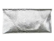 Large Envelope Silver Clutch Snakeskin Print Detachable Button Strap Purse bag