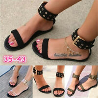 Women Sandals Flat Gladiator Summer Transparent Open Toe Shoes Roman Strap Beach