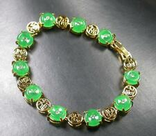 Gold Plate CHINESE Green JADE *Fu* Circle Donut Bangle Bracelet 257764 US