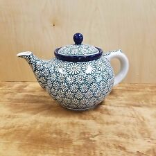 Polish Pottery ~ Teapot (5 Cups) - Green Daisy