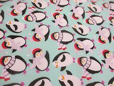 Aqua Blue Penguin, Penguins Christmas Printed Polycotton Fabric