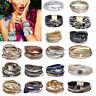 Multilayer Leather Bracelet Handmade Men Women Wristband Crystal Bangle Gifts