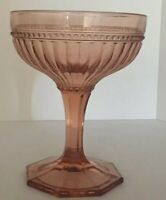 Pink Depression Glass Vintage Pedestal Compote Candy Dish